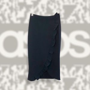ASOS Navy Wrapped Ruffled Midi Skirt